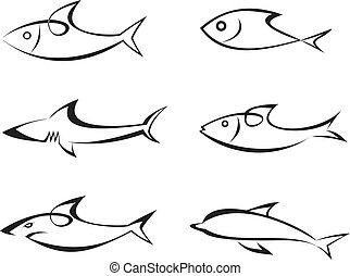 vektor, fish, sæt, -, iconerne