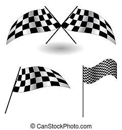 vektor, flags., satz, illustration., checkered