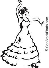 vektor, flamenco, illustration., dancer.