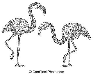 vektor, flamingó, színezés, felnőttek, két