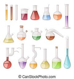 vektor, flasche, set., labor