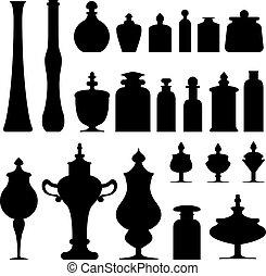 vektor, flaschen, gläser, urnen