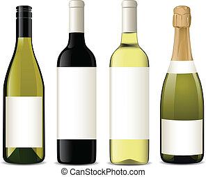 vektor, flaskor, vin