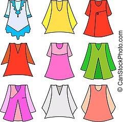 vektor, flicka, sätta, klänningar, fashionabel