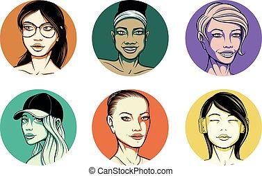 vektor, flickor, avatars