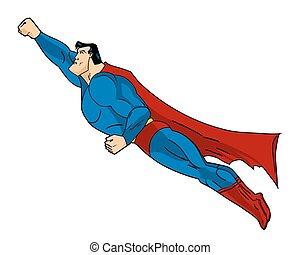 vektor, fliegendes, superhero, abbildung