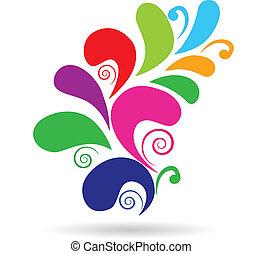 vektor, floral tervezés, színes, elem