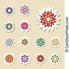 vektor, flowers., sätta, klistermärken