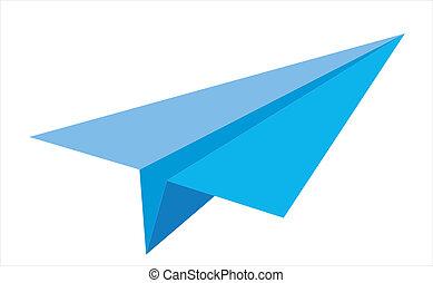vektor, flygplan, papper