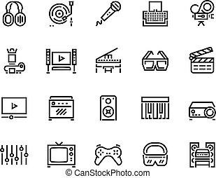vektor, fodra, redigera, media, icons., leka, enheter, sätta...