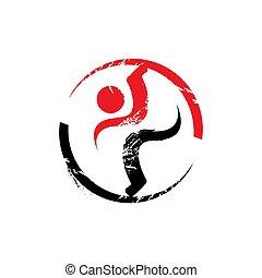 vektor, folk, duelighed, skabelon, sport, illustrationer, logo, sunde, konstruktion