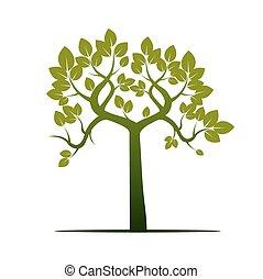 vektor, form, träd., grön, illustration.
