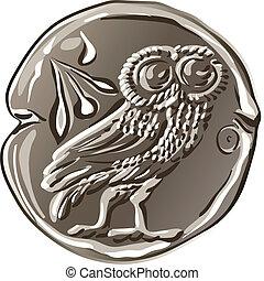 vektor, forntida, grek, pengar, silver, mynt, drakma