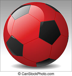vektor, fotbal koule, červeň