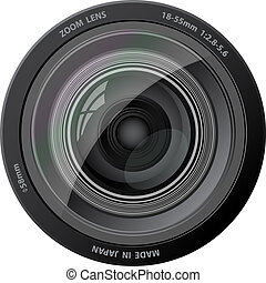 vektor, fotoapperat, lens.