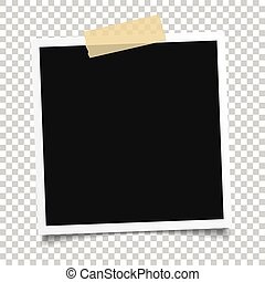 vektor, fotografie, frame.set, o, realistický, noviny, naléhavý, photograph.template, design.