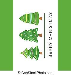 vektor, fröhlich, reizend, weihnachtsbäume, karte