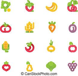 vektor, früchte gemüse, satz