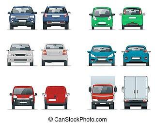 vektor, frakt, sätta, bilar, tom, isolerat, vehicles., leverans, kompakt, off-road, white., mall, minivan, främre del, lastbil, utsikt., sedan, baksida