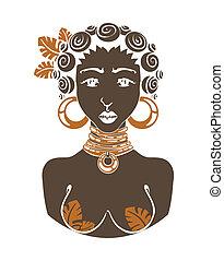 vektor, frau, ethnisch, afrikanisch