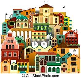 vektor, freigestellt, bunte, townhouses., städtisch, architektur, illustration.