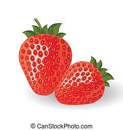 vektor, frische erdbeeren