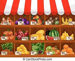 vektor, fruechte, schaukasten, stehen, laden, früchte