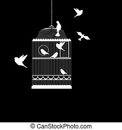 vektor, fugl bur, illustration