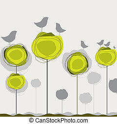 vektor, fugle, træ., baggrund, illustration