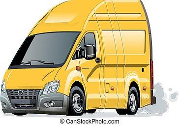 vektor, furgon, karikatúra