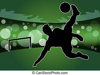 vektor, -, futball játékos, árnykép