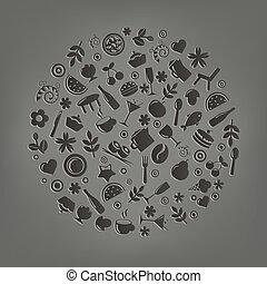 vektor, gömb, étterem, forma, ikonok