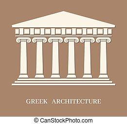 vektor, görög, ősi, építészet, oszlop
