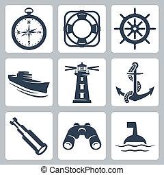 vektor, gördít, kis kémtávcső, távcső, ikonok, kormányzó, hajó, iránytű, tenger, ring-buoy, világítótorony, vasmacska, set:, bója