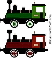 vektor, gőzöl kíséret, lokomotív