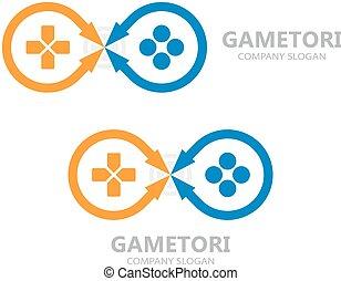 vektor, gamepad, logo., botkormány, jelkép, vagy, ikon