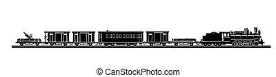 vektor, gammal, tåg, bakgrund, silhuett, vit