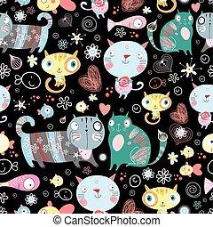 vektor, gatos, cariñoso
