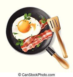 vektor, gebratene eier, mit, speck, streifen, und,...