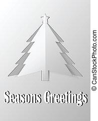 vektor, gefällter baum, papier, weihnachten, heraus