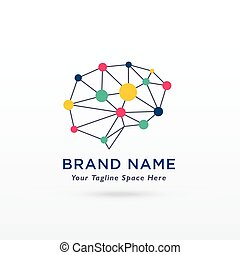 vektor, gehirn, design, logo, digital, begriff