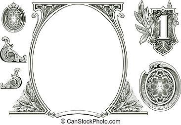 vektor, geld, verzierungen