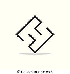 vektor, geometrisk, brev, ht, logo, fodra