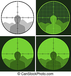 vektor, gevär, syn, crosshair