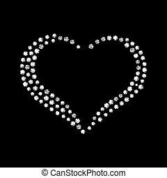 vektor, glänsande, diamant, hjärta, på, svart, bakgrund.