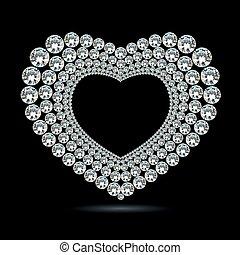 vektor, glänsande, diamant, hjärta, på, svart fond