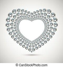 vektor, glänsande, diamant, hjärta, vita, bakgrund