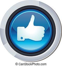 vektor, glänzend, runder , taste, mit, facebook, mögen, zeichen