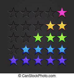 vektor, glänzend, sternen