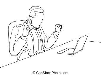 vektor, glücklich, kontinuierlich, front, seine, junger, ledig, design, sitzen, laptop, feier, feiern, mann, begriff, zeichnung, abkommen, deal., geschäftsillustration, ziehen, eins